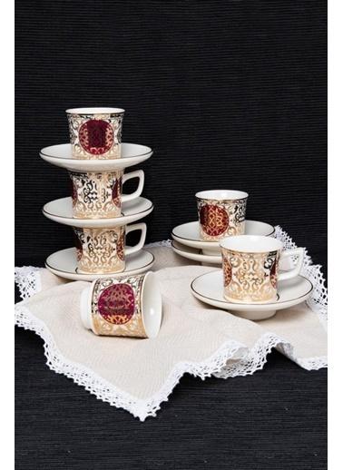 Güral Porselen Güral Porselen Huma El Dekoru Kahve Fincan Takımı Bordo 12 Parça Bordo